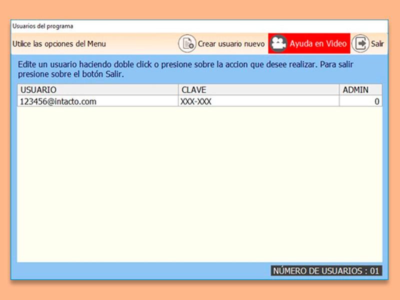 Software TPV inTacto Seguridad de Usuarios